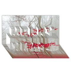 Magic Forest In Red And White Merry Xmas 3d Greeting Card (8x4) by wsfcow