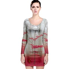 Magic forest in red and white Long Sleeve Bodycon Dress