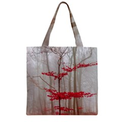 Magic Forest In Red And White Zipper Grocery Tote Bag by wsfcow