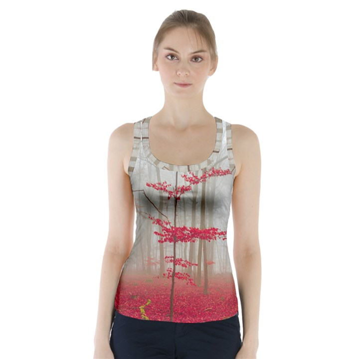 Magic forest in red and white Racer Back Sports Top