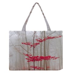 Magic Forest In Red And White Medium Zipper Tote Bag by wsfcow