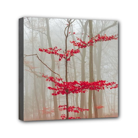 Magic Forest In Red And White Mini Canvas 6  x 6