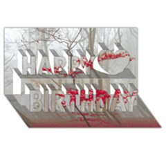 Magic Forest In Red And White Happy Birthday 3d Greeting Card (8x4) by wsfcow