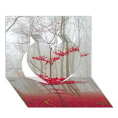 Magic Forest In Red And White Heart 3D Greeting Card (7x5)