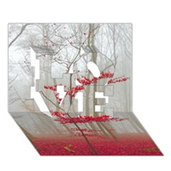 Magic Forest In Red And White Love 3d Greeting Card (7x5) by wsfcow