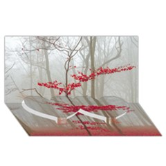 Magic Forest In Red And White Twin Heart Bottom 3d Greeting Card (8x4) by wsfcow