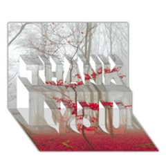 Magic Forest In Red And White Thank You 3d Greeting Card (7x5)