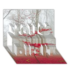 Magic Forest In Red And White You Did It 3d Greeting Card (7x5) by wsfcow
