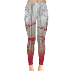 Magic Forest In Red And White Leggings