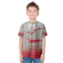 Magic Forest In Red And White Kids  Cotton Tee
