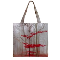 Magic Forest In Red And White Grocery Tote Bag by wsfcow