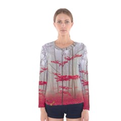 Magic Forest In Red And White Women s Long Sleeve Tee
