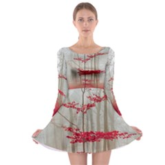 Magic Forest In Red And White Long Sleeve Skater Dress