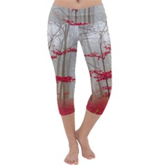 Magic Forest In Red And White Capri Yoga Leggings
