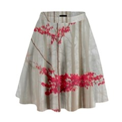 Magic Forest In Red And White High Waist Skirt