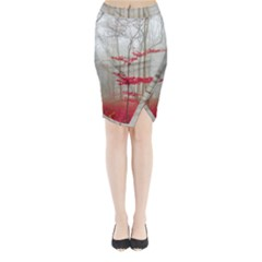 Magic Forest In Red And White Midi Wrap Pencil Skirt