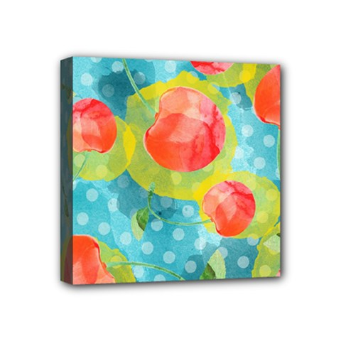 Red Cherries Mini Canvas 4  X 4