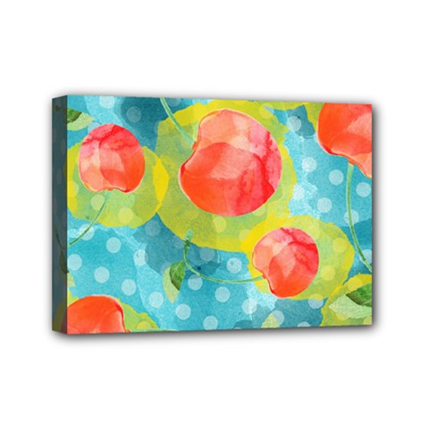 Red Cherries Mini Canvas 7  X 5