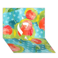 Red Cherries Ribbon 3d Greeting Card (7x5) by DanaeStudio
