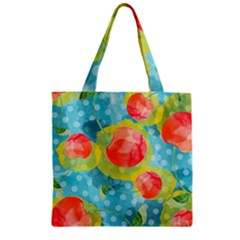 Red Cherries Zipper Grocery Tote Bag by DanaeStudio