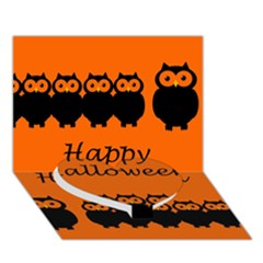 Happy Halloween   Owls Heart Bottom 3d Greeting Card (7x5) by Valentinaart