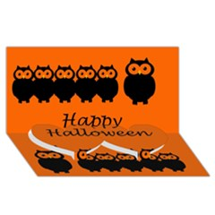 Happy Halloween   Owls Twin Heart Bottom 3d Greeting Card (8x4) by Valentinaart