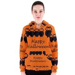 Happy Halloween   Owls Women s Zipper Hoodie