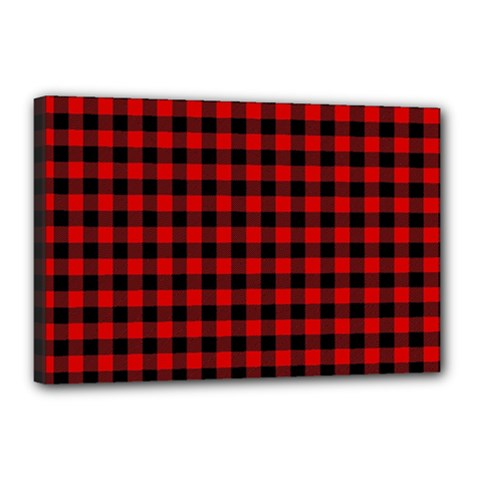 Lumberjack Plaid Fabric Pattern Red Black Canvas 18  X 12  by EDDArt