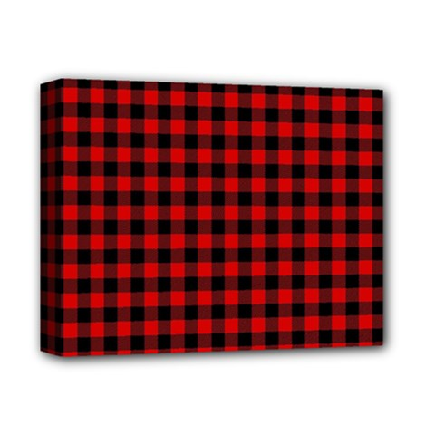 Lumberjack Plaid Fabric Pattern Red Black Deluxe Canvas 14  x 11