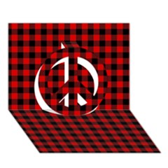 Lumberjack Plaid Fabric Pattern Red Black Peace Sign 3D Greeting Card (7x5)