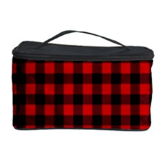 Lumberjack Plaid Fabric Pattern Red Black Cosmetic Storage Case by EDDArt