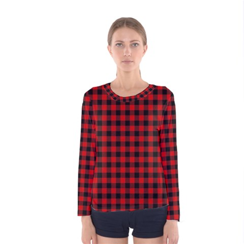 Lumberjack Plaid Fabric Pattern Red Black Women s Long Sleeve Tee by EDDArt