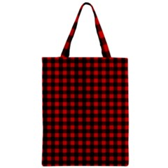 Lumberjack Plaid Fabric Pattern Red Black Zipper Classic Tote Bag by EDDArt
