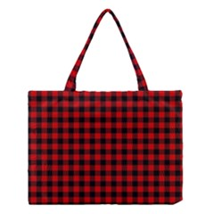 Lumberjack Plaid Fabric Pattern Red Black Medium Tote Bag by EDDArt