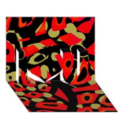 Red Artistic Design I Love You 3d Greeting Card (7x5) by Valentinaart