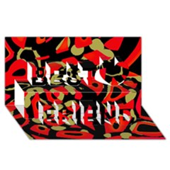Red Artistic Design Best Friends 3d Greeting Card (8x4) by Valentinaart