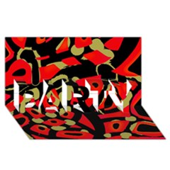 Red Artistic Design Party 3d Greeting Card (8x4) by Valentinaart