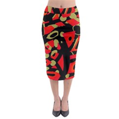Red Artistic Design Midi Pencil Skirt by Valentinaart