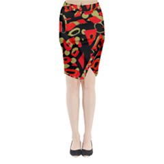 Red Artistic Design Midi Wrap Pencil Skirt by Valentinaart