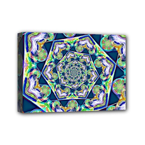 Power Spiral Polygon Blue Green White Mini Canvas 7  X 5  by EDDArt