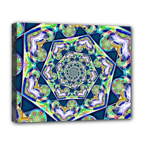 Power Spiral Polygon Blue Green White Deluxe Canvas 20  X 16   by EDDArt