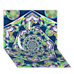 Power Spiral Polygon Blue Green White Apple 3d Greeting Card (7x5) by EDDArt