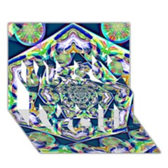 Power Spiral Polygon Blue Green White Miss You 3d Greeting Card (7x5) by EDDArt