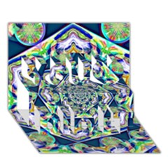 Power Spiral Polygon Blue Green White You Did It 3d Greeting Card (7x5) by EDDArt