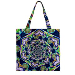 Power Spiral Polygon Blue Green White Grocery Tote Bag by EDDArt