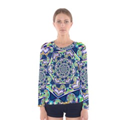Power Spiral Polygon Blue Green White Women s Long Sleeve Tee by EDDArt