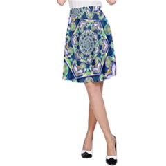 Power Spiral Polygon Blue Green White A Line Skirt by EDDArt