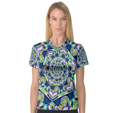 Power Spiral Polygon Blue Green White Women s V-neck Sport Mesh Tee by EDDArt