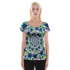 Power Spiral Polygon Blue Green White Women s Cap Sleeve Top by EDDArt