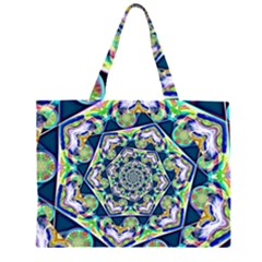 Power Spiral Polygon Blue Green White Zipper Large Tote Bag by EDDArt